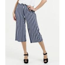 Pantalones anchos de pierna ancha con estampado de rayas de mujer casual