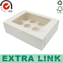custom white packaging design cup paper triangle divider cup cake box with tray
