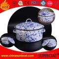 5qt White+Blue Painted Cookware Enamel Stock Pot Soup Pot