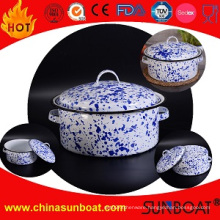 5qt White+Blue Painted Cookware Enamel Stock Pot Soup Pot