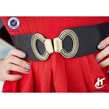 Мода целомудренная 60 мм ширина Pu кожа широкий женщин эластичные ремни с двойной петлей пряжкой