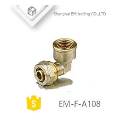 Encaixe de tubulação de compressão de latão feminino EM-F-A108 cotovelo