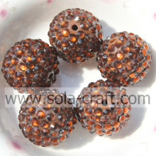 18*20MM Coffee Fashion Wholesale Solid Acrylic Resin Rhinestone Ball Beads