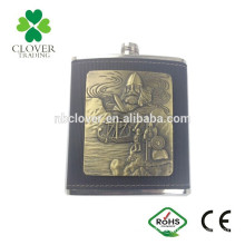 7oz Mini Type and Metal Body Material novelty wine hip flask