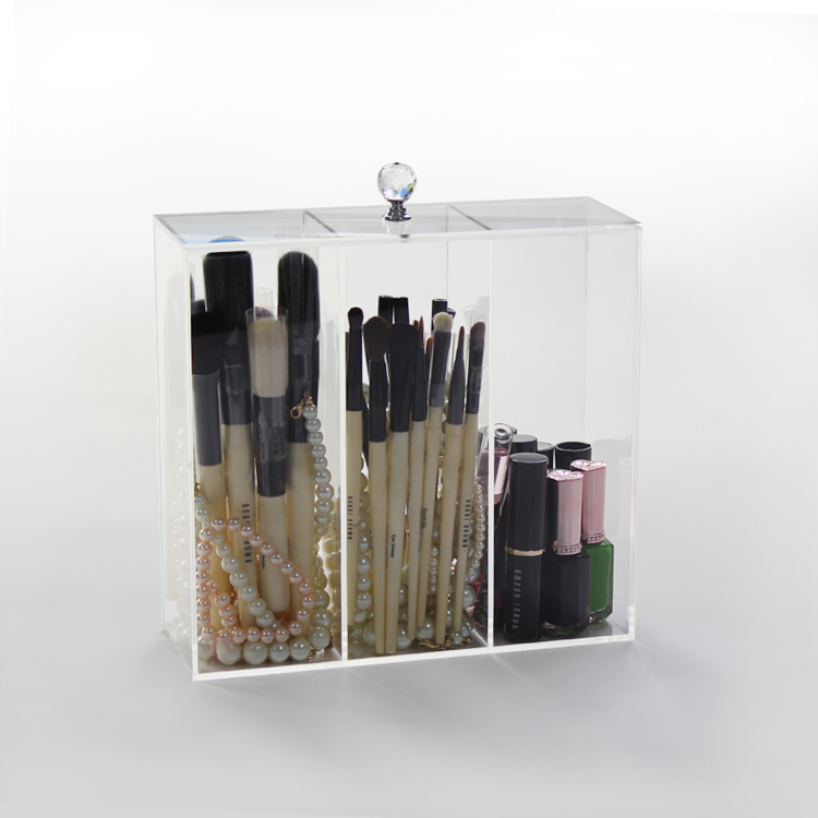 Acrylic Makeup Brush Case Holder With Lid