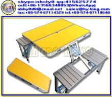 Yellow cheap round folding tables set , folding round tables set , camping folding round tables for sale