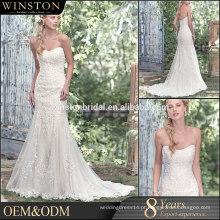 100% Real Fotos Custom Made bordados de tecido de tuleleira corpete de renda de cetim cruzar volta dubai vestido de casamento