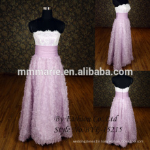 Fashion Strapless Handmade Flower Beading Party Dress Floor Length Lavender A line evening Dress 2015