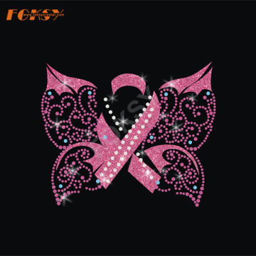 Butterfly Pink Ribbon Iron on Rhinestone Transfer
