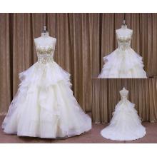Robe de mariée perlée sans bretelles paillettes Chine