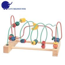Bunte pädagogische Spiel Spielzeug hölzerne große um die Perlen Draht Maze