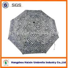 Dreifache solide Automatische Faltung Regenschirm einzigartige Zebra für Dame