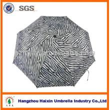 Three Fold Solid Automatic Folding Umbrella Unique Zebra For Lady