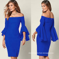 Woman Trumpet Sleeve Office Dress Sexy Fashion Slim Casual Club Party Dress