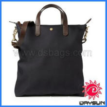 Popular Style Leather-Trimmed Canvas Tote Bag For Man Or Woman
