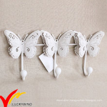 Triple White Antique Metal Butterfly Hooks for Wall