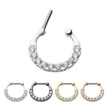Surgical Steel Septum Clickers with CZ Gem