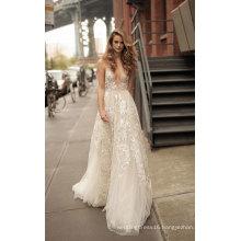 Deep V Neck Lace Evening Prom Bridal Gown Weddin Dress