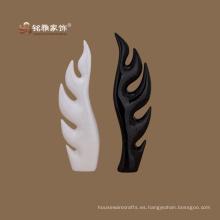 Escultura de adorno de moda moderna resina de árbol de cedro blanco y negro