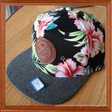 Cutom Trucker Cap with Leather Patch Snapback Cap
