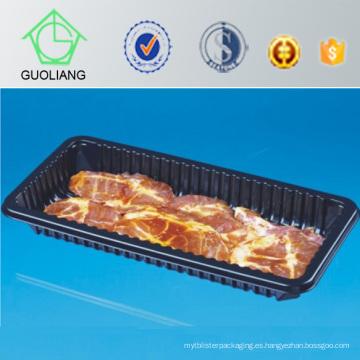Bandeja desechable de carne de plástico con almohadilla absorbente