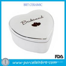 Caja de regalo de boda de cerámica en forma de corazón
