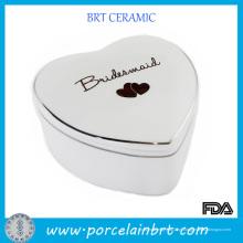 Caixa de presente de casamento de cerâmica em forma de coração