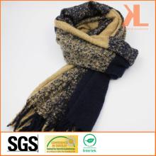100% акриловая мода Браун-флот проверенный сплетенный шарф с Fringe
