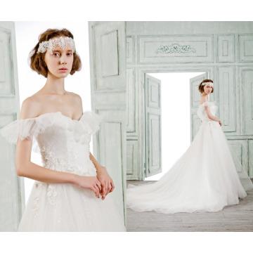 Vestido de boda nupcial del dulce-corazón de la foto del vestido de boda del cordón 2016