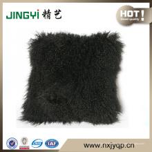 Gros couverture de coussin en peau de mouton mongole gris