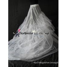 white long train petticoat for mermaid dress, evening dress