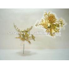 17cm leaf artificial glitter plastic Christmas pick