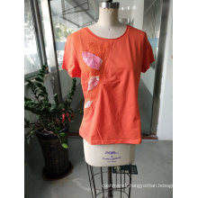 Orange Shiny Colourful Printed Flower Ladies T-Shirt Clothes