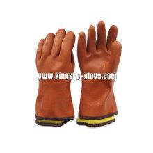 Оранжевый полностью акрил Подкладка ПВХ/резиновые зимние перчатки (5126)