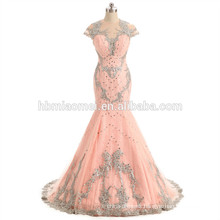 Pink color heavy beading bridesmaid dress laced up peach bridesmaid dress with small train