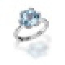 3.40CT 6 Prong Setting Natural Rose Quartz Blue Topaz Forever Rings 925 Sterling Silver for Women Bridal Fine Jewelry