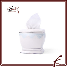 Caixa de papel decorativo de tecido de cerâmica quadrada