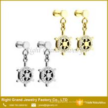 Оптовая мода из нержавеющей стали ААА CZ камень серьги поддельные Подключаемые серьги для унисекс