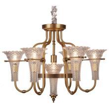 Lustre en fer, éclairage en métal, tissu en verre, 6 lumières (SL2238-6 + 1)