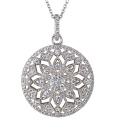 Round CZ 925 Silver Pendants Necklace Jewelry for Girls