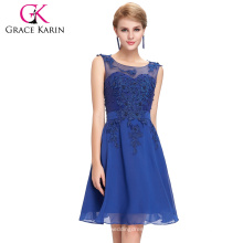 Grace Karin 2016 vestido de baile curto sem mangas gola de tripa Royal Blue com bainha frisada fotos reais de vestido de cocktail GK000063-4