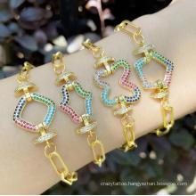New Zircon Vintage Gold Luxury Colorful Zircon Geometric Charms Cuban Chain Bracelet