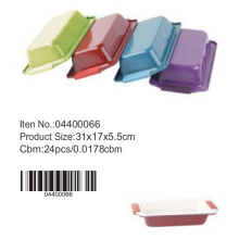 Colorful ceramic loaf pan with silicone handle