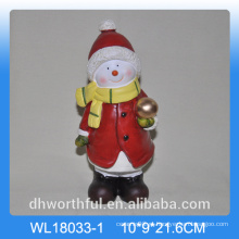 Natal, presente, cerâmico, Ornamento, boneco neve, FORMA