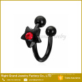 Stein klar und rot sternförmige Nase Piercing Ring Circular Barbell