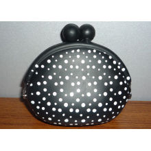 Polka Dots Small Kiss Lock Silicone Coin Purse With Color Filled Logo For Kids