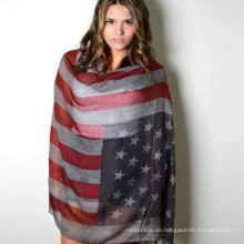 Immer heißer verkaufender whosale Preis bester klassischer Unisexscreening, der Polyester-Voile-amerikanische Flaggenschal pirngt