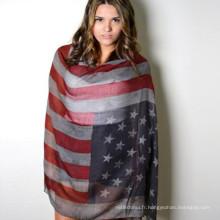 Toujours chaud vente whosale prix meilleur classique unisexe dépistage pirnting Polyester Voile drapeau américain écharpe