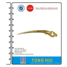 Promotional zinc alloy bookmark with gold plating
