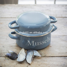 carbon steel with enamel coating mussel pot belly style (21cm/22cm size)